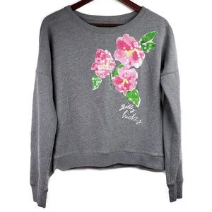 Gilly Hicks Gray Floral Sweatshirt Sequin Painted